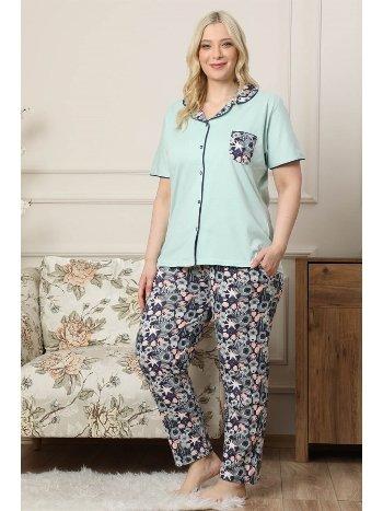 Akbeniz Kadın Su Yeşili Pamuklu Düğmeli Cepli Kısa Kol Büyük Beden Pijama Takım 202038