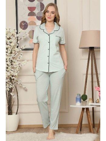 Akbeniz Kadın Su Yeşili Pamuklu Düğmeli Cepli Kısa Kol Pijama Takım 2545