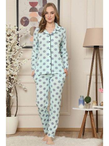 Akbeniz Kadın Su Yeşili Pamuklu Düğmeli Cepli Uzun Kol Pijama Takım 2473