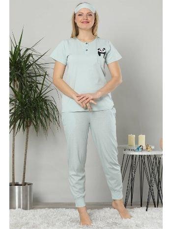 Akbeniz Kadın Su Yeşili Renk Pamuklu Cepli Kısa Kol Ribana Paça Pijama Takım 2503