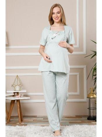 Akbeniz Kadın Su Yeşili Renk Pamuklu Hamile Pijama Takımı 4502