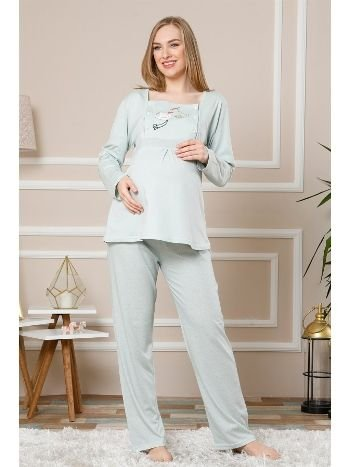 Akbeniz Kadın Su Yeşili Renk Pamuklu Hamile Pijama Takımı 4511