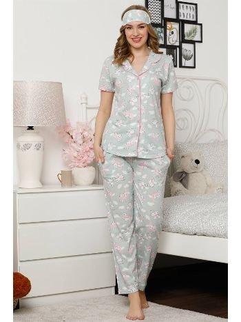 Akbeniz Kadın Su Yeşili Renkli Pamuklu Cepli Kısa Kol Pijama Takım 2529