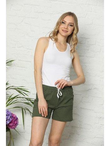 Akbeniz Kadın Yeşil Keten Şort 272