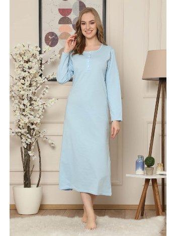 Akbeniz Mavi Renk Penye Uzun Kollu Uzun Gecelik 943