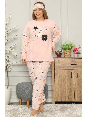 Akbeniz Welsoft Polar Kadın Büyük Beden Pijama Takımı 8114
