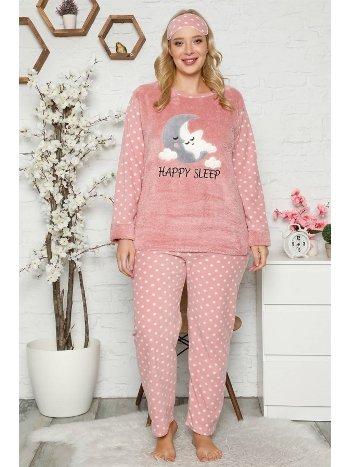 Akbeniz Welsoft Polar Kadın Büyük Beden Pijama Takımı 8115