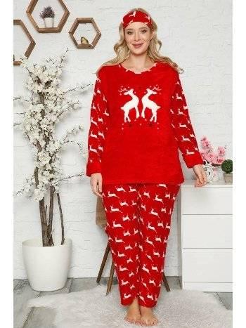 Akbeniz Welsoft Polar Kadın Büyük Beden Pijama Takımı 8116