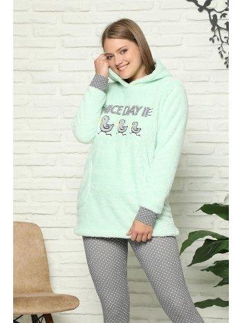 Akbeniz Welsoft Polar Kapşonlu Taytlı Kadın Pijama Takımı 8087