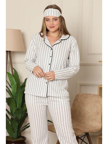 Akbeniz Welsoft Polar Önden Düğmeli Kadın Pijama Takımı 8085