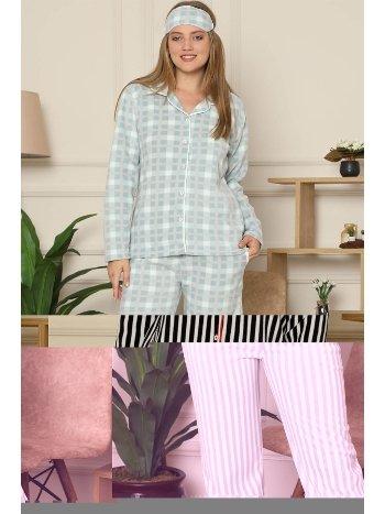 Akbeniz Welsoft Polar Önden Düğmeli Kadın Pijama Takımı 8086