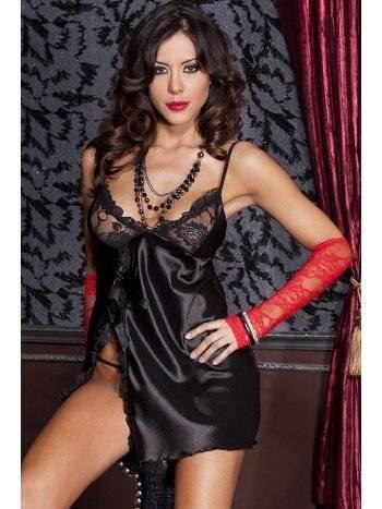 Anastasia Dantelli Siyah Fantezi Gecelik Takım A531