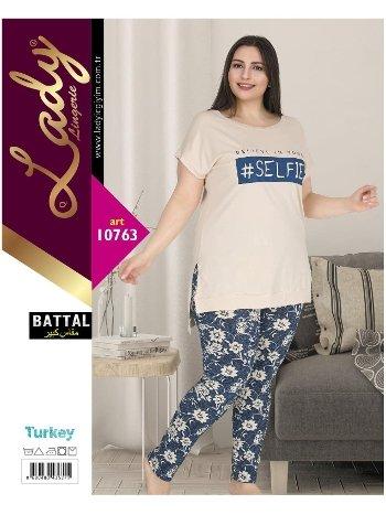 Battal Beden Kısa Kol Pijama Lady 10763