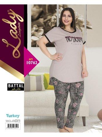 Battal Boy Büyük Beden Kısa Kol Pijama Takımı Lady 10762