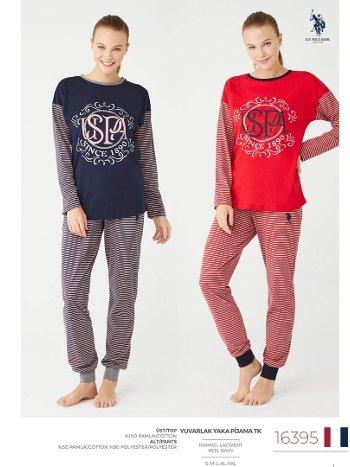 Bayan Uzun Kollu Pijama Takımı Us Polo 16395