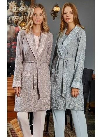 Begonya Jakarlı Sabahlıklı Lohusa Pijama Takımı Bone Club 5106