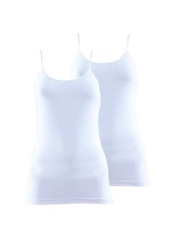 BlackSpade Essential Kadın İnce Askılı Atlet Beyaz 2'li Paket 1591