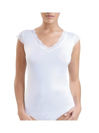 BlackSpade Kadın Dantelli Beyaz T-Shirt 1348