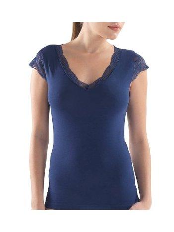 BlackSpade Kadın Dantelli Lacivert T-Shirt 1348
