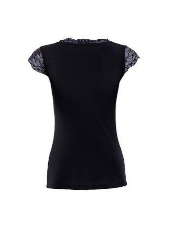 BlackSpade Kadın Dantelli Siyah T-Shirt 1348