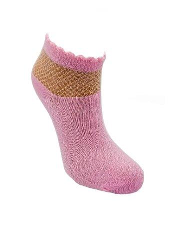 Bonas Bilek Kısmı Şeffaf Petek Desenli Kısa Konç Bambu Soket Çorap