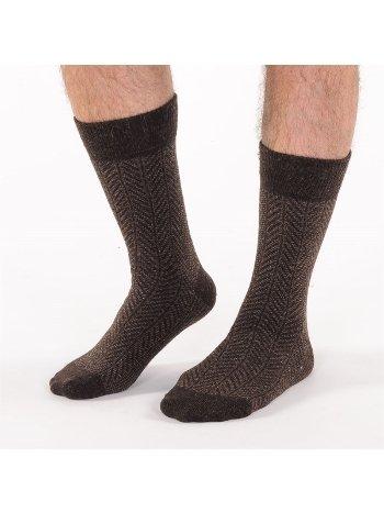 Bonas Erkek Şerit Lambswool Yün Soket Çorap