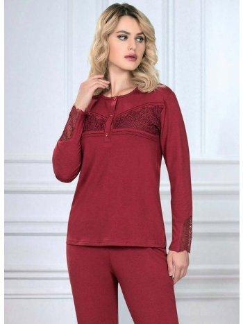 Bordo Uzun Kol Pijama Takım Kışlık FLZ 89-450