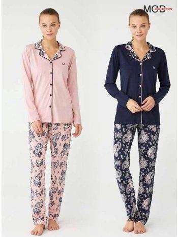 Boydan Düğmeli Gömlek Pijama Takımı Mod Collection 3377