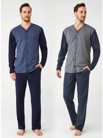 Boydan Düğmeli %100 Pamuk Erkek Pijama Takım Mod Collection 3338