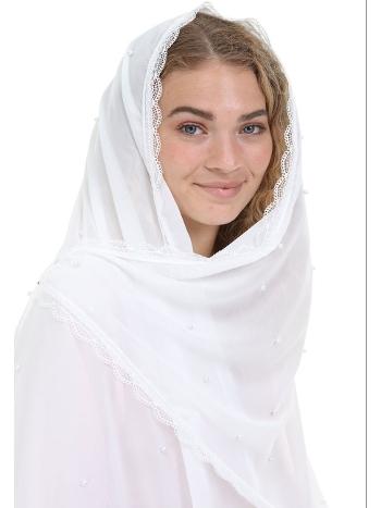 Bride İnci Detaylı Şifon Nikah ve Mevlud Şalı Asimod Asi-BRD.AKS.06