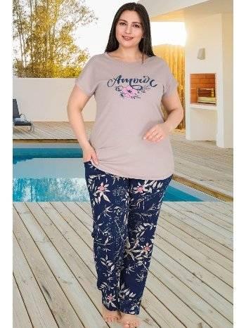 Büyük Beden Çiçekli Cepli Pijama Takımı Lady 10780