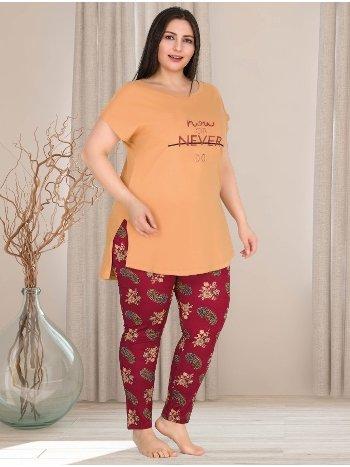 Büyük Beden Kadın Orange Tunikli Pijama Takımı Lady 10761