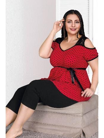Büyük Beden Kırmızı Renk Ve Desenli Kapri Pijama Takımı Lady 10524