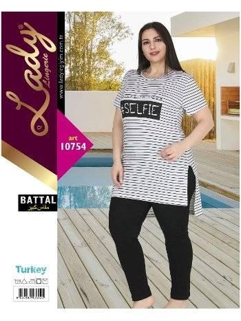 Büyük beden Kısa Kol Pijama Lady 10754