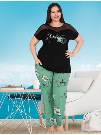 Büyük Beden Kısa Kollu Cepli Pijama Takımı Lady 10781