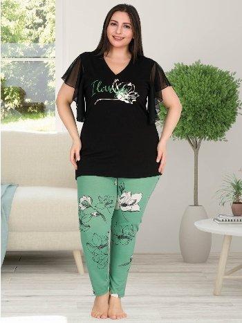 Büyük Beden Kısa Tül Kollu V Yaka Pijama Takım Lady 10751