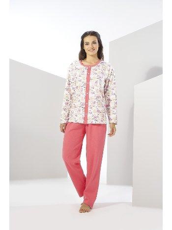 Büyük Beden Penye Önden Düğmeli Pijama Takımı Estiva 20310