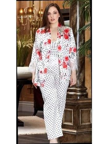 Büyük Beden Saten 3'Lü Askılı Pijama Takım Jeremi 3238