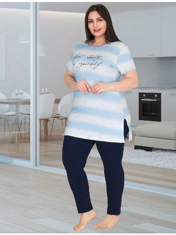 Büyük Beden Şık Mavi Tunikli Lacivert Pijama Takımı Lady 10755