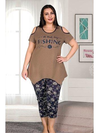 Büyük Beden Siyah Renk Ve Desenli Kapri Pijama Takımı Lady 10523
