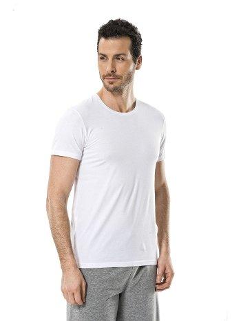 Cacharel Erkek Likralı O Yaka T-shirt 1331/BEYAZ