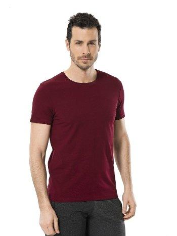 Cacharel Erkek Likralı O Yaka T-shirt 1331/BORDO