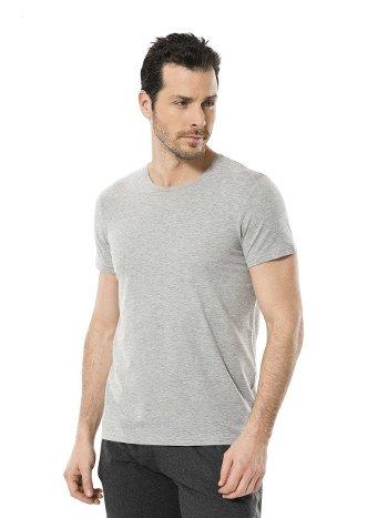 Cacharel Erkek Likralı O Yaka T-shirt 1331/GRİ