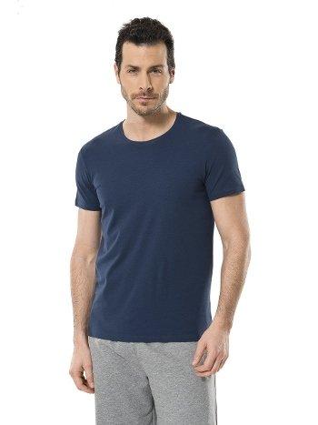 Cacharel Erkek Likralı O Yaka T-shirt 1331/İNDİGO