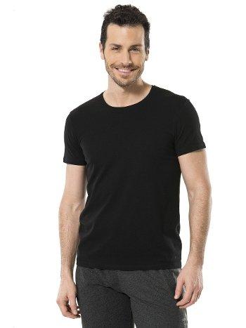 Cacharel Erkek Likralı O Yaka T-shirt 1331/SİYAH