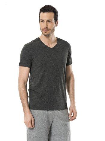 Cacharel Erkek Likralı V Yaka T-shirt 1332/ANTRASİT