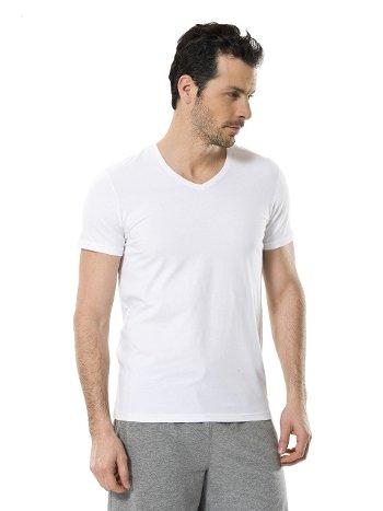 Cacharel Erkek Likralı V Yaka T-shirt 1332/BEYAZ
