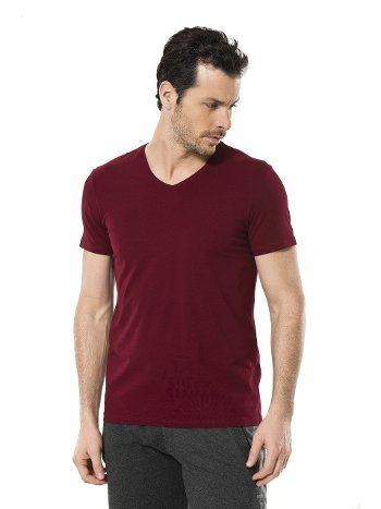 Cacharel Erkek Likralı V Yaka T-shirt 1332/BORDO