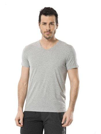 Cacharel Erkek Likralı V Yaka T-shirt 1332/GRİ
