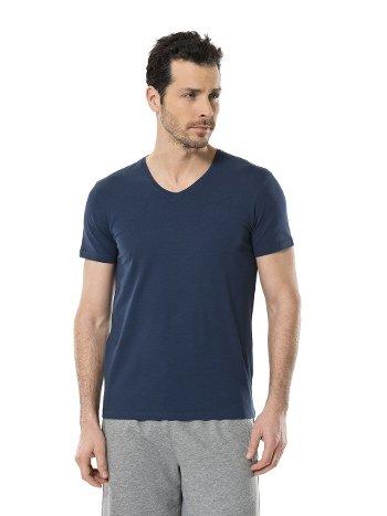 Cacharel Erkek Likralı V Yaka T-shirt 1332/İNDİGO